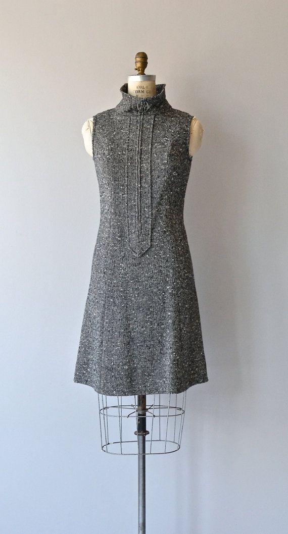 Salt and Pepper dress vintage 1960s dress mod wool by DearGolden