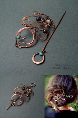 beautiful copper and gemstone bead hair clip