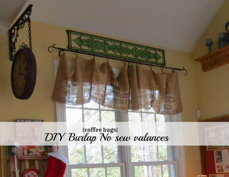 #Diy #no #sew #burlap #kitchen valances...made from #Coffee #bags!