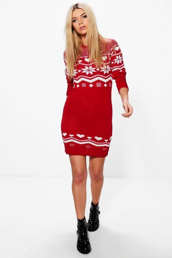 Freya Heart Fairisle Christmas Jumper Dress