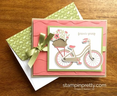 Bike Ride Stamp Set & Build a Bike Framelits Dies Birthday card.  Mary Fish, Stampin' Up! Demonstrator.  1000+ StampinUp & SUO card ideas.  Read more https://stampinpretty.com/2017/06/beautiful-bike-ride-birthday-card-idea.html