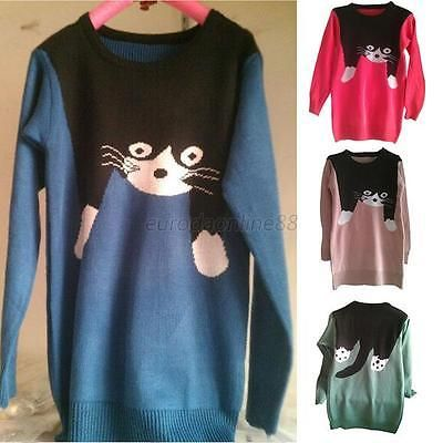 Women-Cute-Cat-Pattern-Oversize-Loose-Knitwear-Pullover-Jumper-Sweater-Cardigans