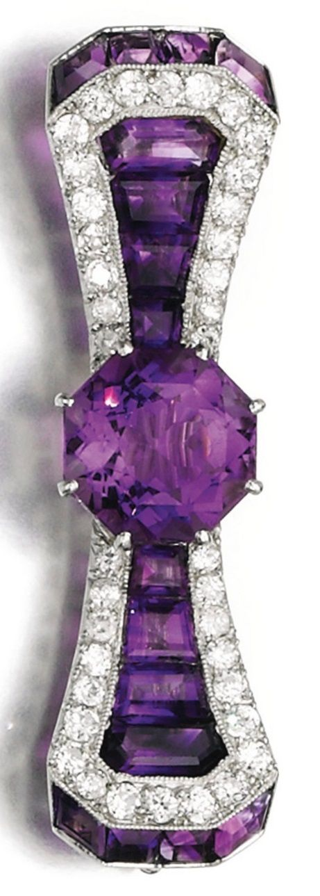 An Art Deco amethyst and diamond brooch, 1920s. Of bow design, set with circular- and calibré-cut amethysts and circular-cut diamonds, French assay mark. #ArtDeco #brooch                                                                                                                                                                                 More