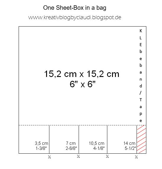 """Als kleine Dankeschöns, die mal wieder in die Bestelltüten gewandert sind, habe ich eine Box in a Bag ausgetüftelt, für die man nur ein 6"""" x..."""