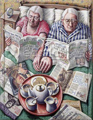 Sunday (Reading in Bed) P. J. Crook #art #illustration/ Domenica (leggere a letto)