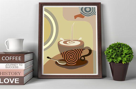 Coffee Art Print, Kitchen Wall Art Decor, Tea Art Print, Coffee Lover Gift, Tea Lover Gift, Beige, Tan, Brown, Cream, Dinning Room Decor