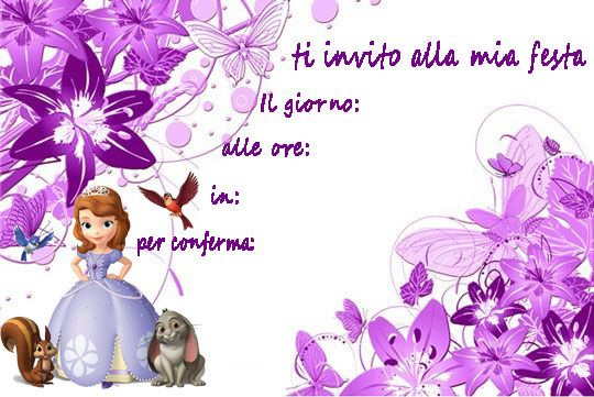 inviti per feste principessa Sofia Sofia the First http://www.lefestediemma.com/download-inviti-per-feste/