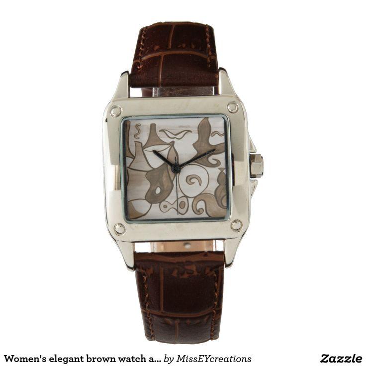 Conception brune élégante d'abrégé sur la montre