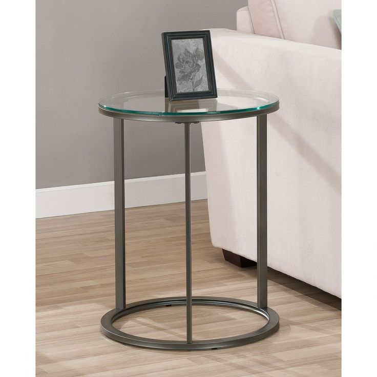 Good Side Table Option   Round Glass Top Metal End Table | Overstock.com