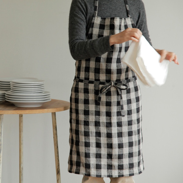 shop fog linen — Daily Apron: Black Natural Check