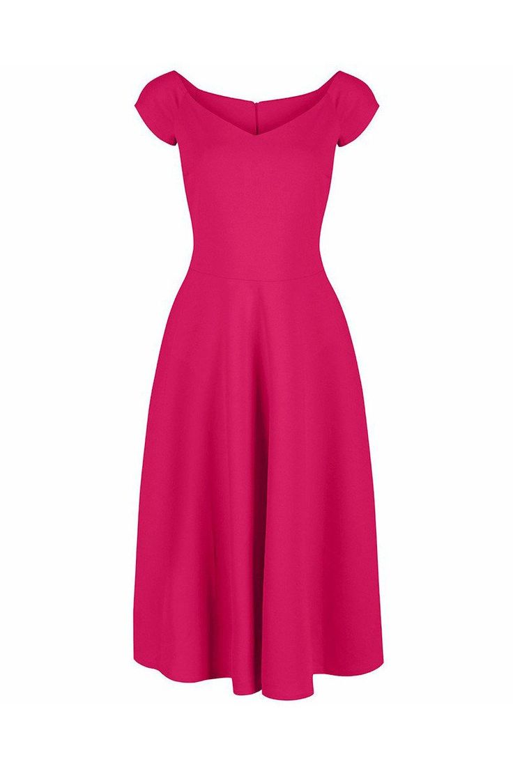 Hot Pink Cap Sleeve 50s Swing Dress