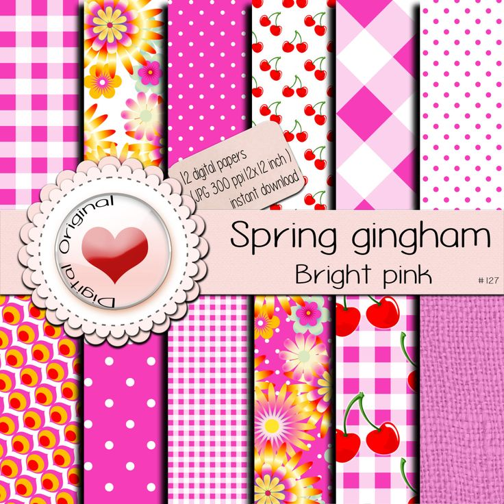 Digital papers / Spring Gingham / Bright pink/ 12 sheets