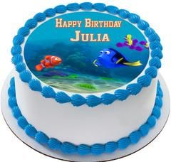 Finding Dory Edible Birthday Cake Topper OR Cupcake Topper, Decor - Edible Prints On Cake (Edible Cake &Cupcake Topper)