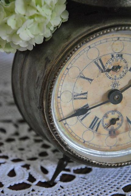 Vintage Clock with Hydrangea