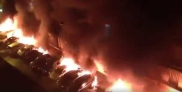 VIDEO: Muslim migrants set fire to over 25 cars in affluent Paris neighborhood-It's daily news in France. They burn cars to attract police/firefighters, then they attack them with stones and molotov cocktails.