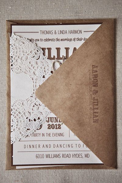 beautiful #kraft #wedding invitation with a paper doily! -