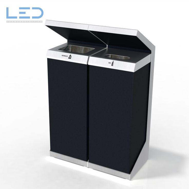 Q-Bin Recyclingstation Kehricht und PET, Wertstoffbehälter, Abfallbehälter, Innen und Aussen, Abfalltrenner
