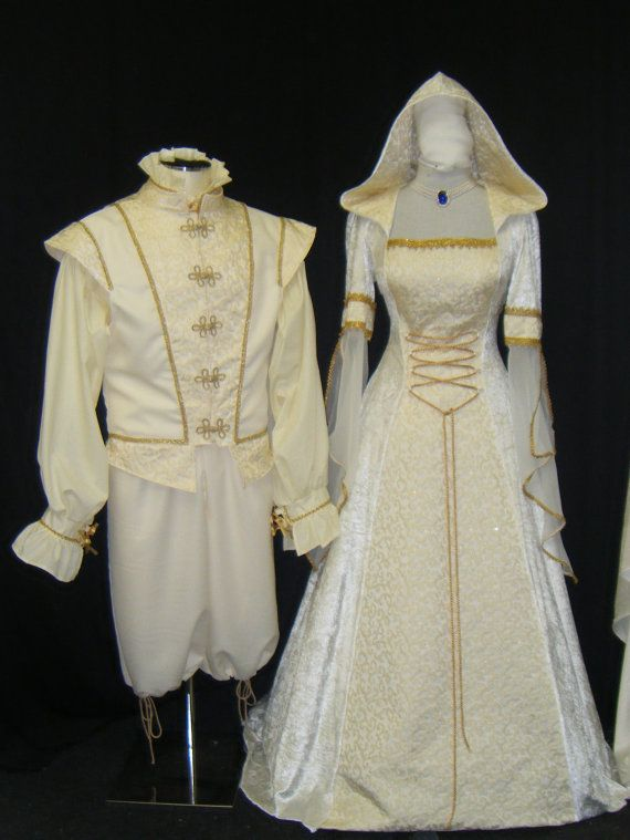 medieval handfasting renaissance Wedding dress by camelotcostumes, $260.00 Gold and pearls, garnet.. with a chainmaille chain oh my I would so love to make some custom jewelry to go with this!