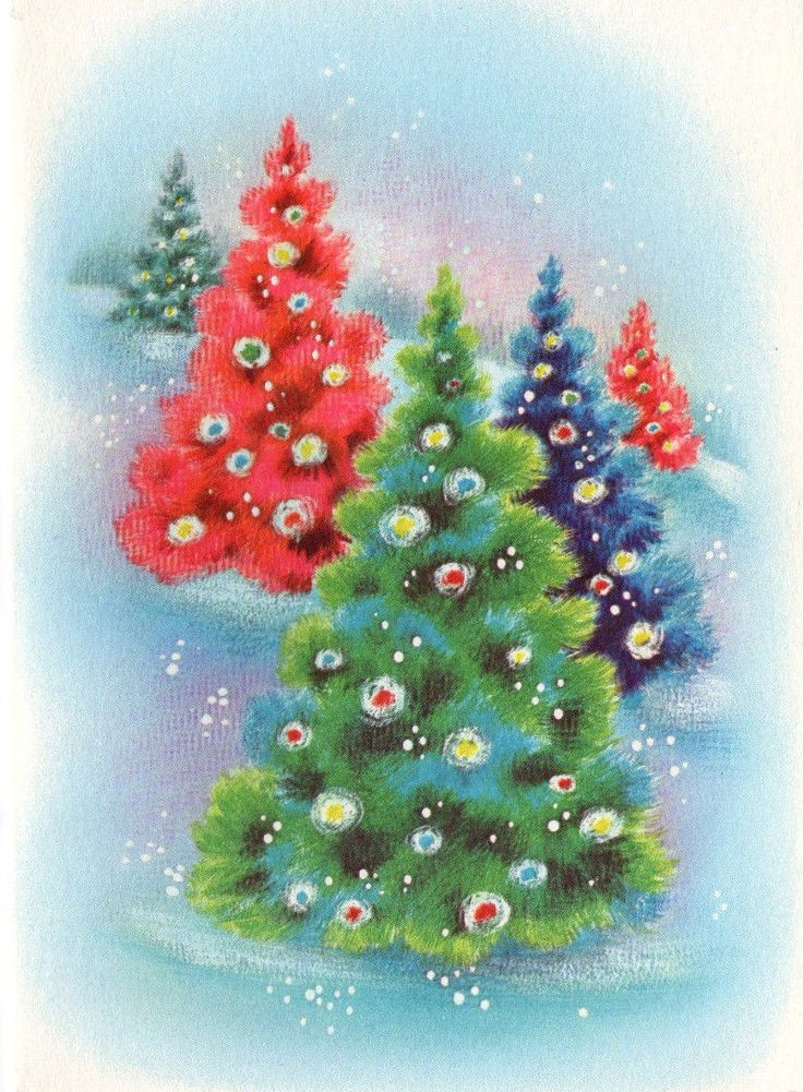 Vintage Xmas Greeting Card Unused Pink Blue Green Decorated Trees Mid Century | eBay