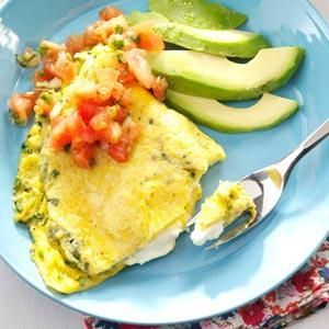 Cream Cheese & chive omelet.  Yummm.  I would use Greek yogurt cream cheese, lower the fat, up the protein.