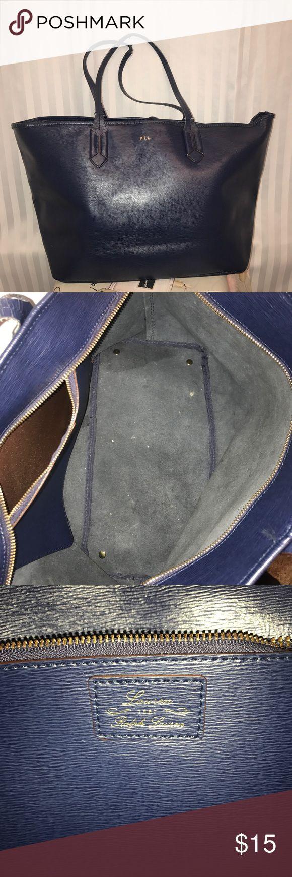 Ralph Lauren Tote Lauren Ralph Lauren women's navy blue tote bag  Has flaw on one of the straps shown in last photo Lauren Ralph Lauren Bags Shoulder Bags