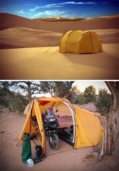 motorcycle tent. This could be great for cross country bike touring too! http://camplovers.com/best-cabin-camping-tents/
