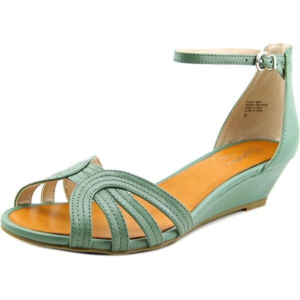 Seychelles Seychelles Break Women Open Toe Leather Green Wedge Sandal... ($48) ❤ liked on Polyvore featuring shoes, sandals, green, green leather sandals, leather wedge sandals, open toe sandals, wedges shoes and wedge sandals
