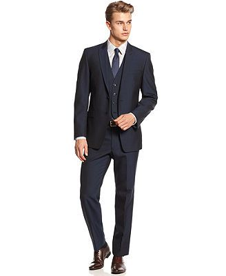 Calvin Klein Blue Peak Vested Suit Slim X Fit