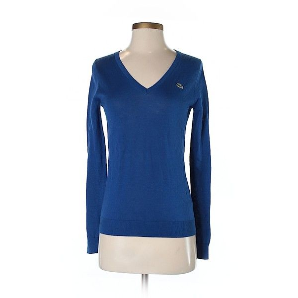 Lacoste Pullover Sweater (€29) ❤ liked on Polyvore featuring tops, sweaters, dark blue, cotton pullovers, blue top, lacoste tops, pullover sweater and dark blue sweater