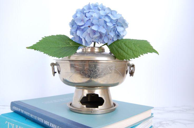 Vintage Korean Hot Pot Cooker - Brazier Chafing Dish - BBQ Cooker - Metal Pot by PursuingVintage1 on Etsy