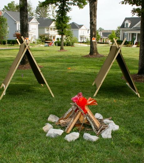 simple tents. love the campfire pit as well.