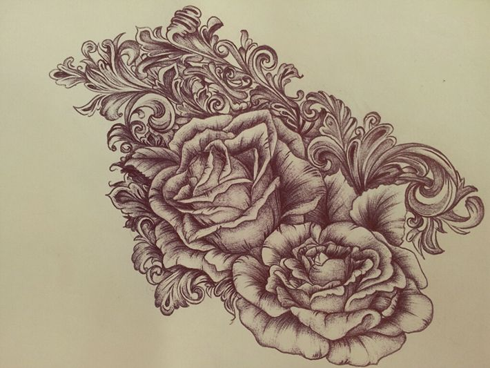 behance victorian scrollwork roses tattoo by eileen wagner love pinterest victorian. Black Bedroom Furniture Sets. Home Design Ideas