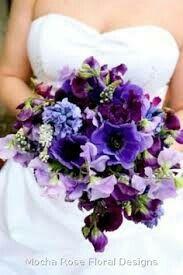 Purple anenomes, lisanthius, carnations