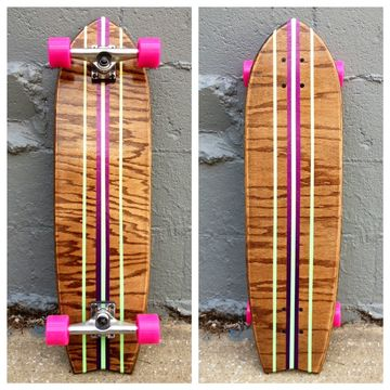 The Rock Steady Longboard Skateboard Salemtown Board Co  Kona Wood, Purple and…