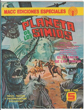 El Planeta De Los Simios #1, 15 Augusto 1975, VF, Mexican Edition published through MACC - Notice how this cover includes the foreground gorilla's rifle that was removed from the U.S. Marvel version of #7 painted by Bob Larkin. Begins the saga of the first film with art by George Tuska (Gene Colan drew the splash page) and Mike Esposito, adaptation of story by Doug Moench. $35