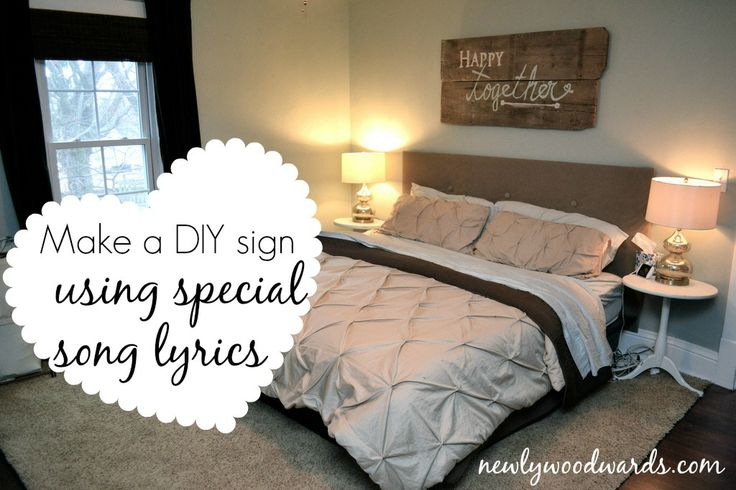 """""""Happy together"""" sign made from old barn wood. Super simple DIY idea."""