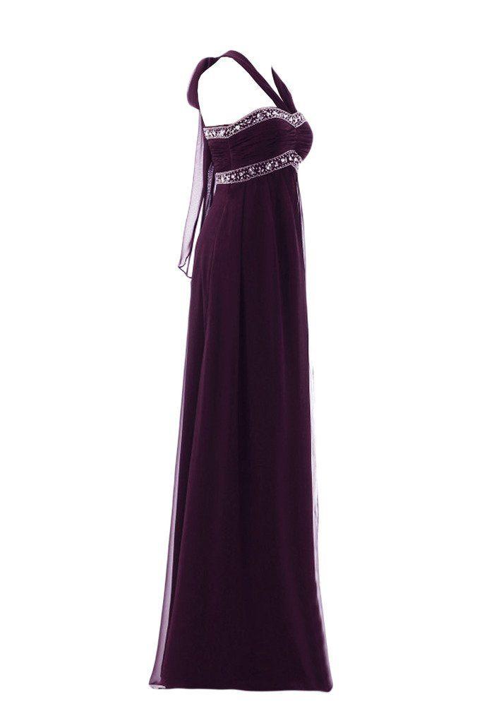 Gorgeous Bride Elegant Empire Chiffon Lang Neckholder Kristall Abendkleid  Festkleid Ballkleid -50 Grape