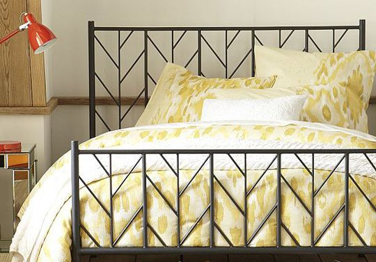 pale yellow ikat print bed linens