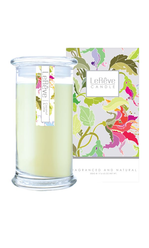 COCONUT & LIME FRAGRANCED NATURAL CANDLE The essence of a tropical island paradise is captured with creamy coconut and fresh lime - a true classic. Lights for up to 95 hours. #Candles #LoveLereve