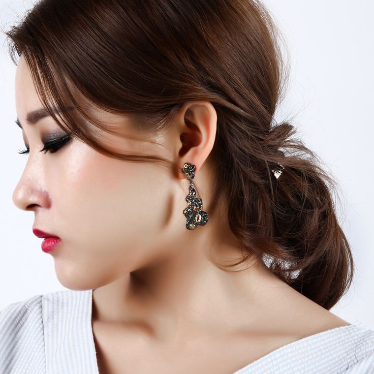 Unique items for black Gold-color earrings Geometrical shape with Multicolor zirconia Top quality Glamorous Chic Life