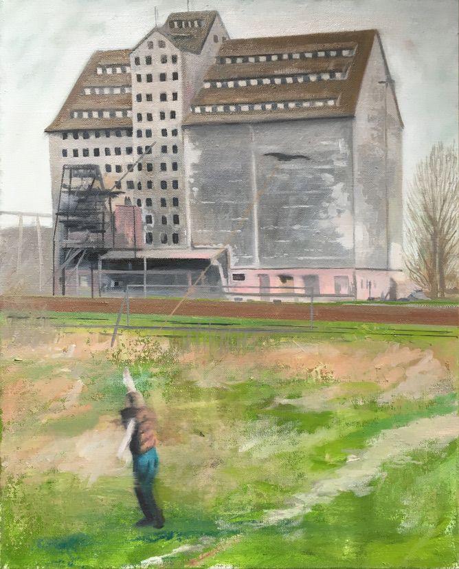 Markus Boesch - Bird at the long leash 55 cm x 44 cm Oil on Canvas www.markusboesch.net