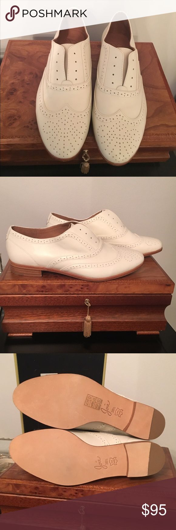Joie White Laceless Oxford Flats. NEVER WORN. Stacked heel, laceless, true to size. Never worn. Purchased in 2014. The current style of this shoe has a white heel, these have a beautiful wooden stack heel. Joie Shoes Flats & Loafers