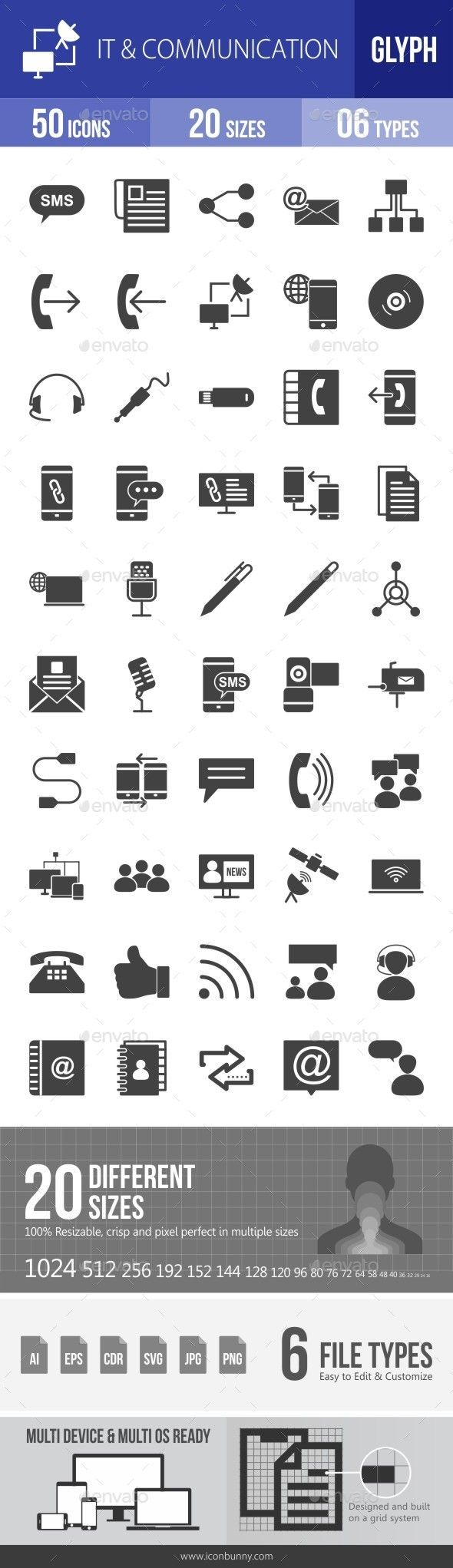 IT & Communication Glyph Icons