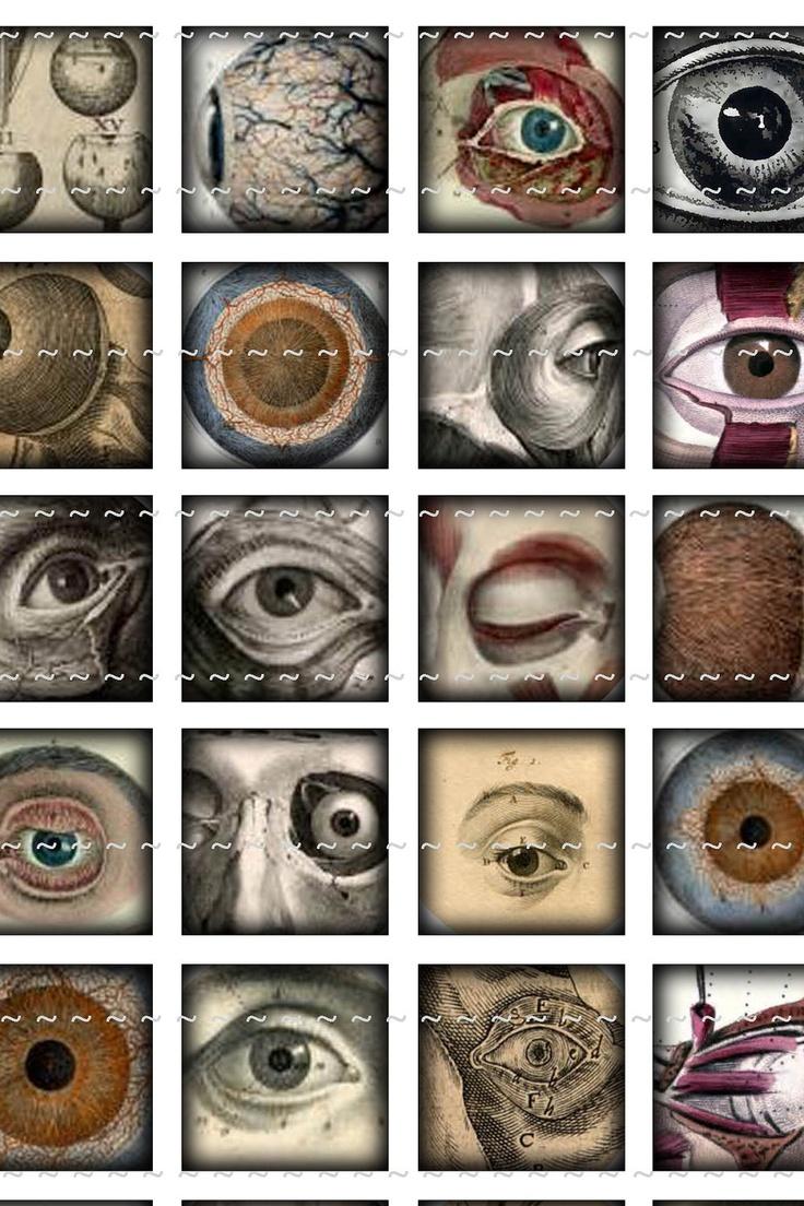 Digital Download Collage Sheet Vintage Eyes Eyeballs Anatomy Halloween Horror 1x1 Squares Tiles (41). $1.00, via Etsy.