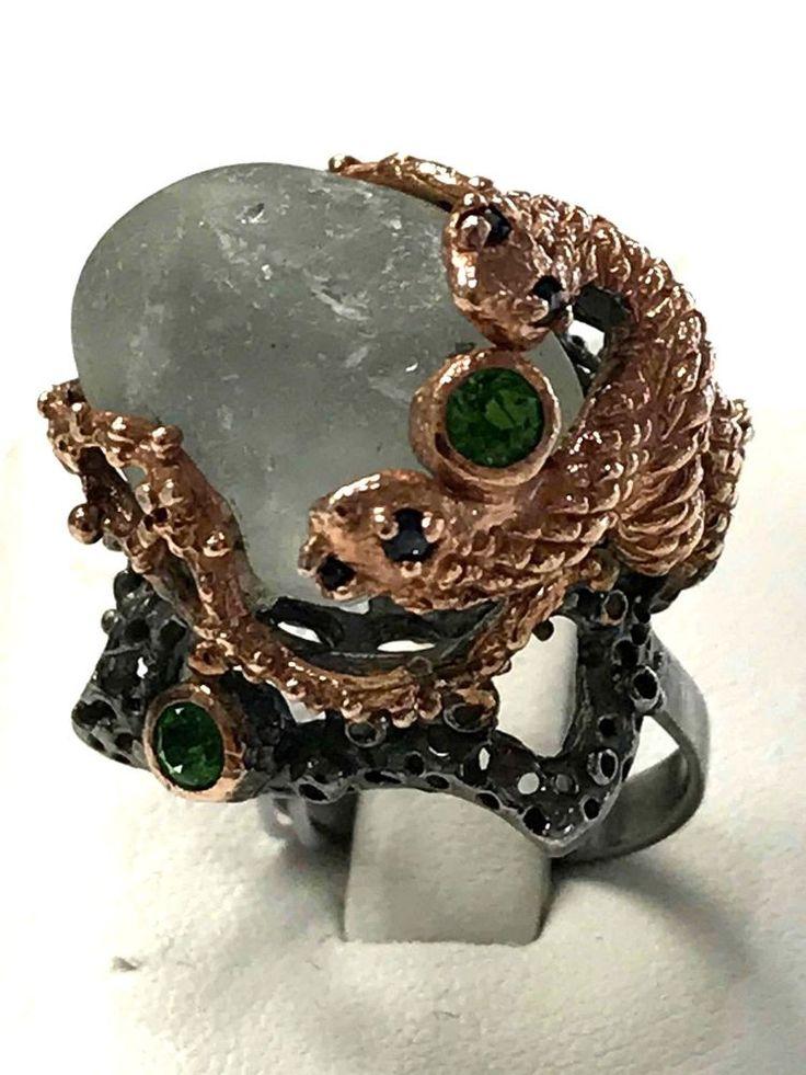 Snake FineArt Jewelry Aquamarine Peridot 925 Sterling Silver Ring Sz 7