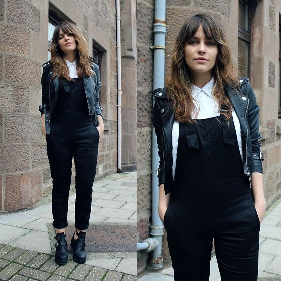 Sheinside Dungarees, H&M Shirt, Oh My Love Leather Jacket