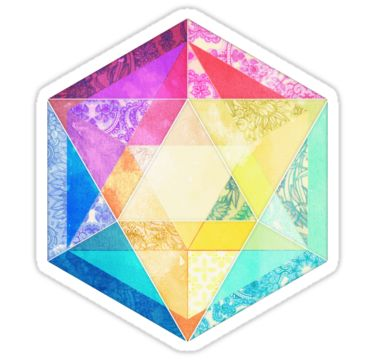 Retro Rainbow Patchwork Hexagon by micklyn