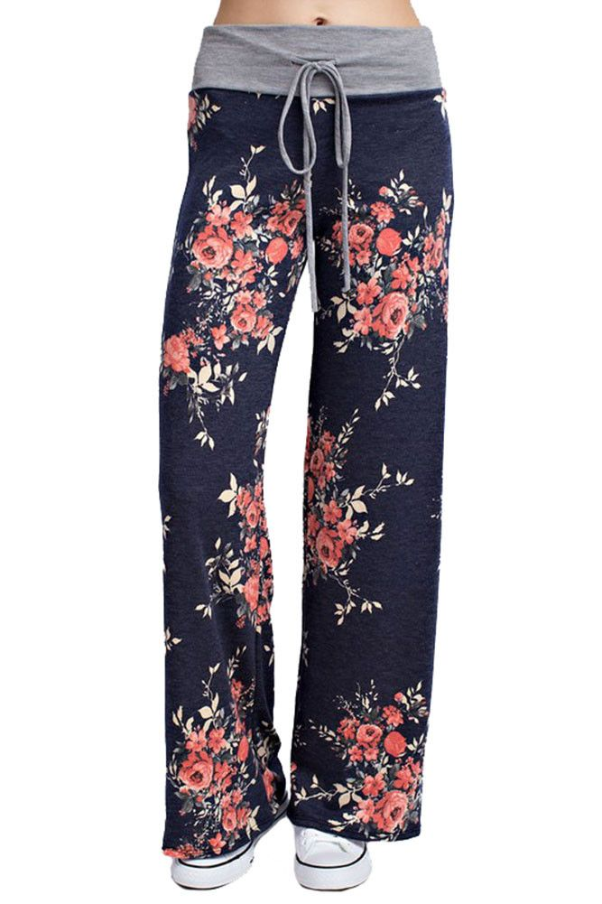 Flowered Casual Lounge Pants in Navy
