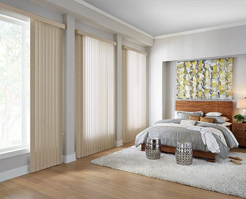 Wide Window Solutions Traditional Vertical Blinds Collection: Keepsake Color Name: Golden Years Color Number: 0172 Options Shown: Fabric Vertical Blinds with Cord and Chain Control and Square Corner Valance
