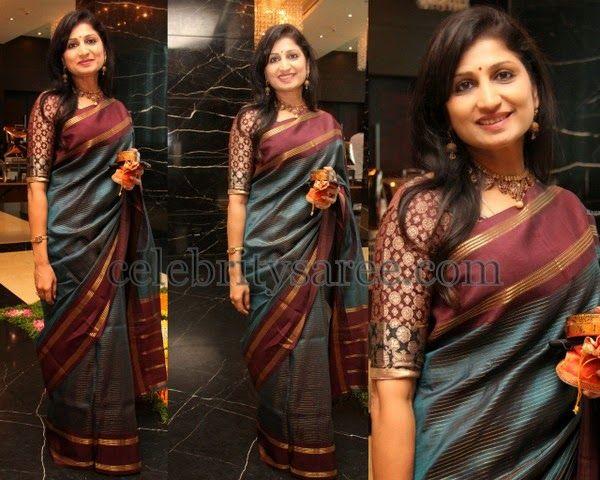 Dharmavaram Saree with Gold Stripes